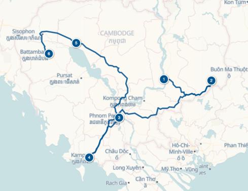 Carte itinéraire Cambodge